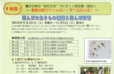(終了しました)田んぼの生きもの観察会&農体験